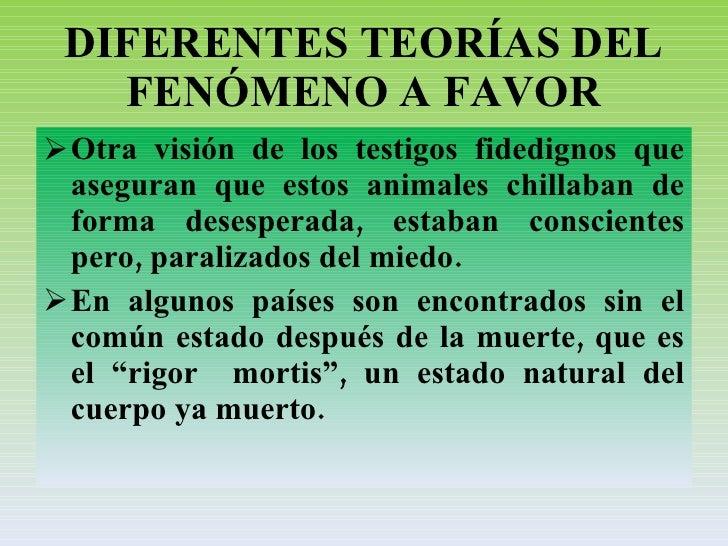 DIFERENTES TEORÍAS DEL FENÓMENO A FAVOR <ul><li>Otra visión de los testigos fidedignos que aseguran que estos animales chi...