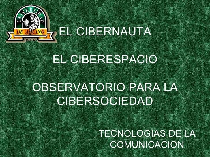 EL CIBERNAUTA EL CIBERESPACIO OBSERVATORIO PARA LA CIBERSOCIEDAD TECNOLOGIAS DE LA COMUNICACION