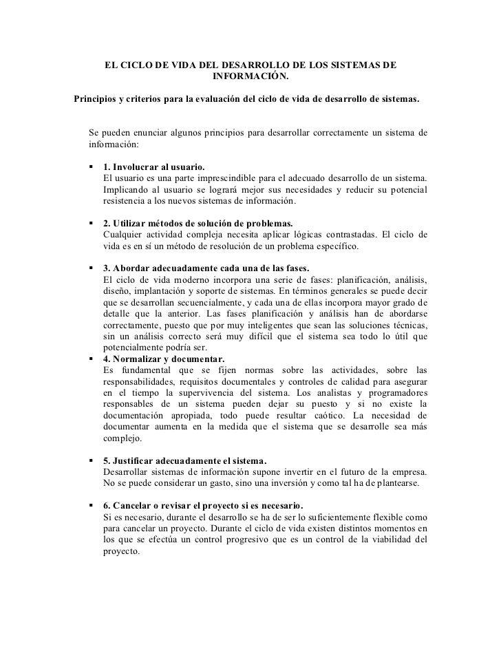 EL CICLO DE VIDA DEL DESARROLLO DE LOS SISTEMAS DE                          INFORMACIÓN.Principios y criterios para la eva...