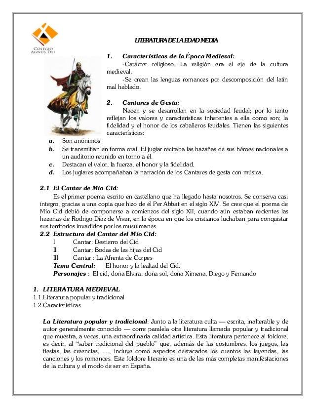 LITERATURA DELA EDADMEDIA                             1.   Características de la Época Medieval:                          ...