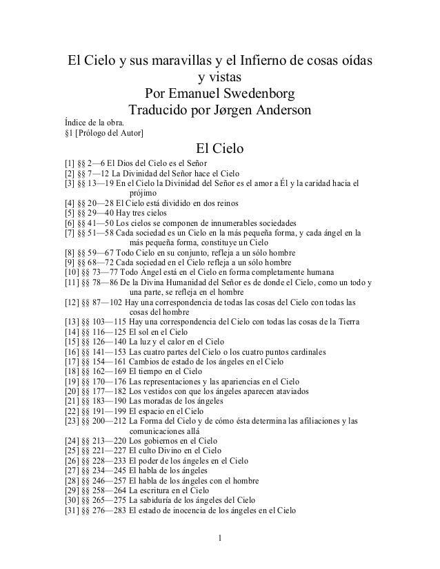 El Cielo y sus maravillas y el Infierno de cosas oídas                       y vistas             Por Emanuel Swedenborg  ...