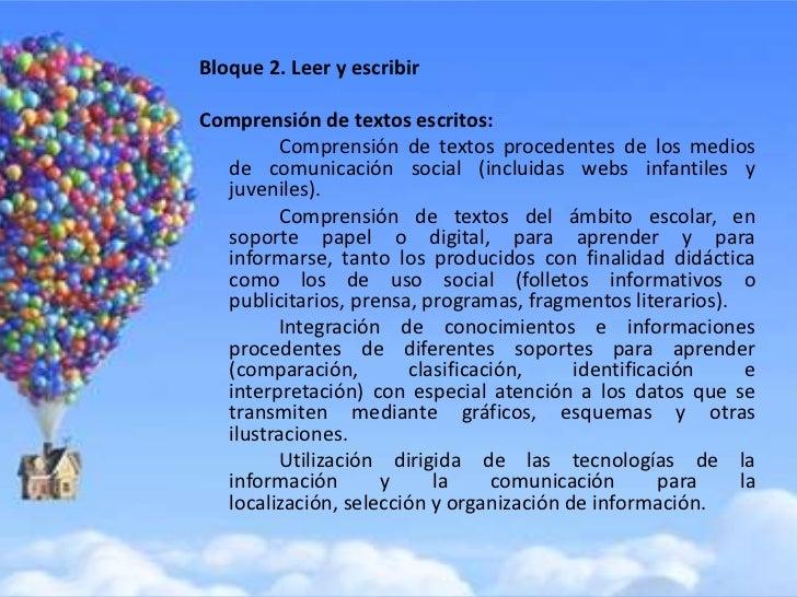 Bloque 2. Leer y escribirComprensión de textos escritos:        Comprensión de textos procedentes de los medios  de comuni...