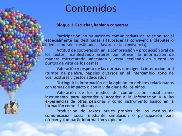 Contenidos      Bloque 1. Escuchar, hablar y conversar      Participación en situaciones comunicativas de relación sociale...