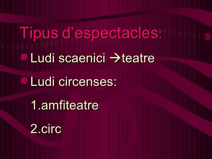 <ul><li>Tipus   d'espectacles : </li></ul><ul><li>Ludi scaenici   teatre </li></ul><ul><li>Ludi circenses: </li></ul><ul>...