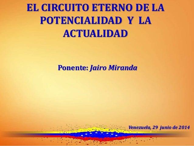 EL CIRCUITO ETERNO DE LA POTENCIALIDAD Y LA ACTUALIDAD Ponente: Jairo Miranda Venezuela, 29 junio de 2014
