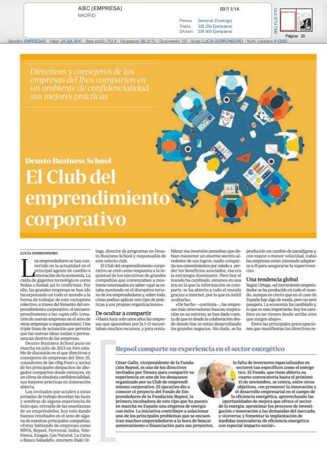 ABC (EMPRESA) 09/11/14  MADRID  Prensa: Semanal (Domingo)  Tirada: 328.254 Ejemplares  Difusión: 239.605 Ejemplares  Págin...