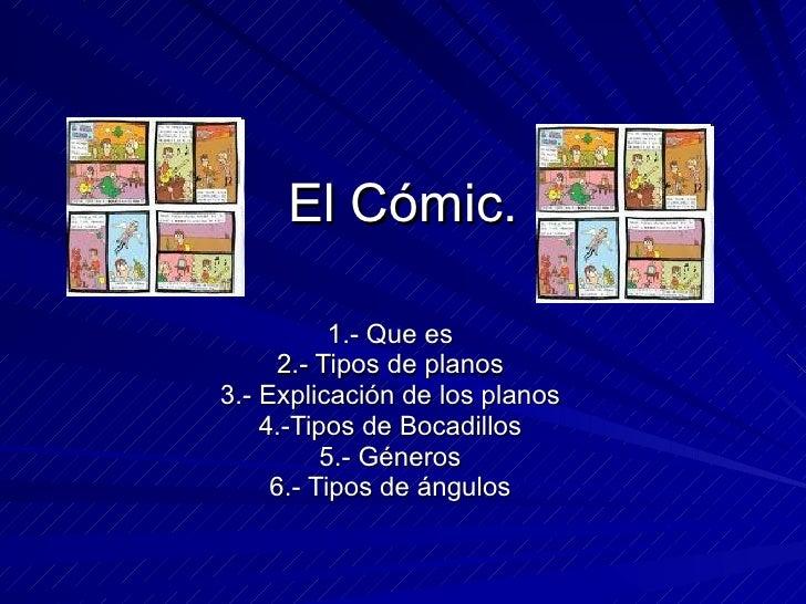 El Cómic. 1.- Que es 2.- Tipos de planos 3.- Explicación de los planos 4.-Tipos de Bocadillos 5.- Géneros 6.- Tipos de áng...