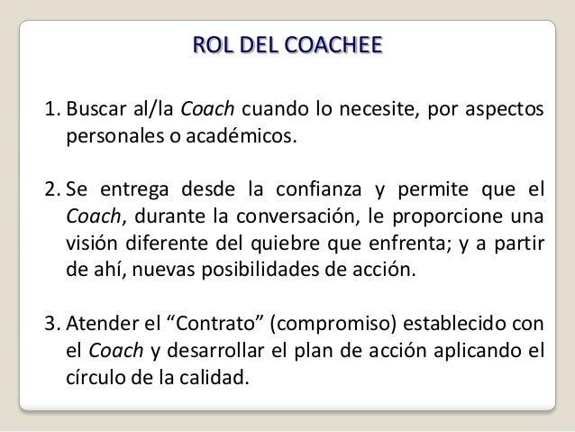 ROL DEL COACHEE1. Buscar al/la Coach cuando lo necesite, por aspectos   personales o académicos.2. Se entrega desde la con...