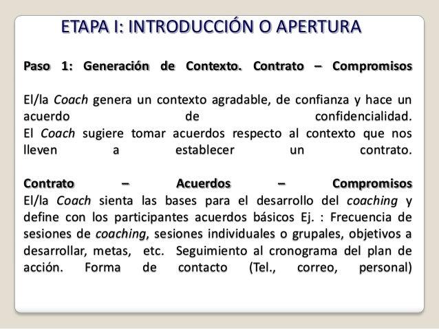 ETAPA I: INTRODUCCIÓN O APERTURAPaso 1: Generación de Contexto. Contrato – CompromisosEl/la Coach genera un contexto agrad...