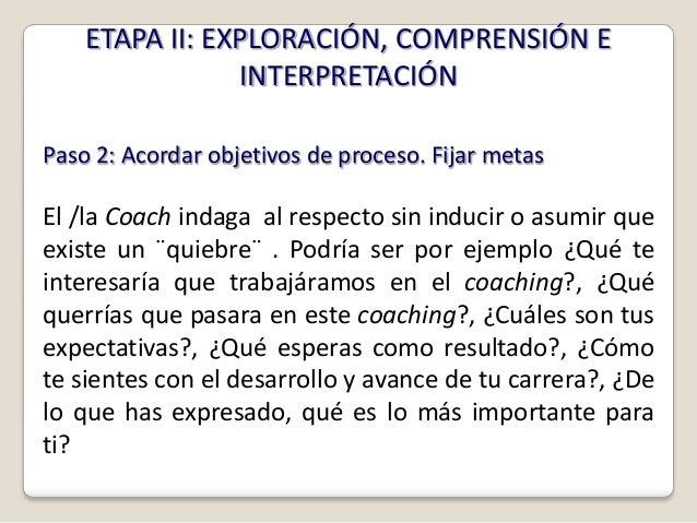 ETAPA II: EXPLORACIÓN, COMPRENSIÓN E                INTERPRETACIÓNPaso 2: Acordar objetivos de proceso. Fijar metasEl /la ...