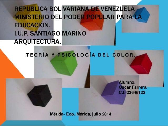 REPUBLICA BOLIVARIANA DE VENEZUELA MINISTERIO DEL PODER POPULAR PARA LA EDUCACIÓN. I.U.P. SANTIAGO MARIÑO ARQUITECTURA. T ...