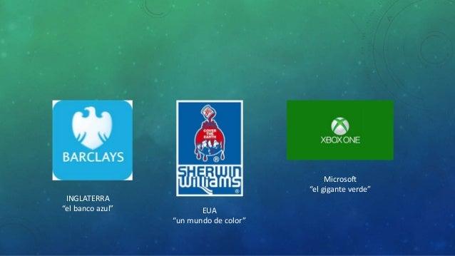 """INGLATERRA  """"el banco azul"""" EUA  """"un mundo de color""""  Microsoft  """"el gigante verde"""""""