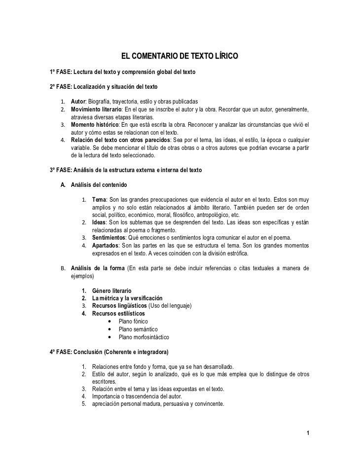 EL COMENTARIO DE TEXTO LÍRICO 1º FASE: Lectura del texto y comprensión global del texto  2º FASE: Localización y situación...