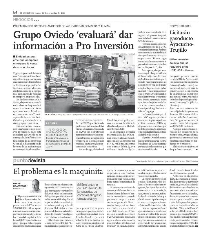 b4 I EL COMERCIO viernes 26 de noviembre del 2010negociosPolémica Por datos financieros de azucareras Pomalca y tumán     ...