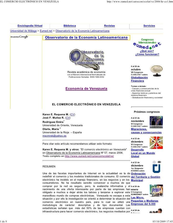 EL COMERCIO ELECTRÓNICO EN VENEZUELA                                                                   http://www.eumed.ne...