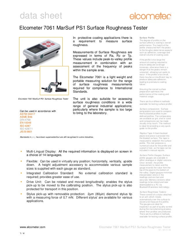 data sheet Elcometer 7061 MarSurf PS1 Surface Roughness Tester In protective coating applications there is a requirement t...