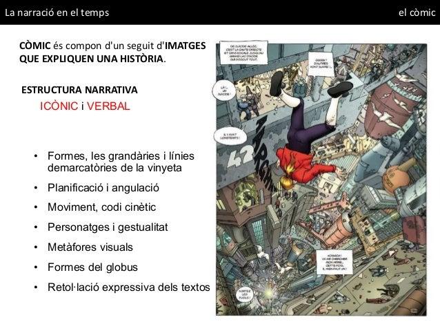 La narració en el temps el còmic CÒMIC és compon d'un seguit d'IMATGES QUE EXPLIQUEN UNA HISTÒRIA. ESTRUCTURA NARRATIVA IC...