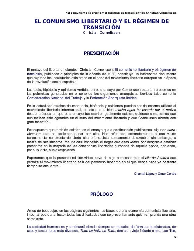 """""""El comunismo libertario y el régimen de transición"""" de Christian Cornelissen5EL COMUNISMO LIBERTARIO Y EL RÉGIMEN DETRANS..."""