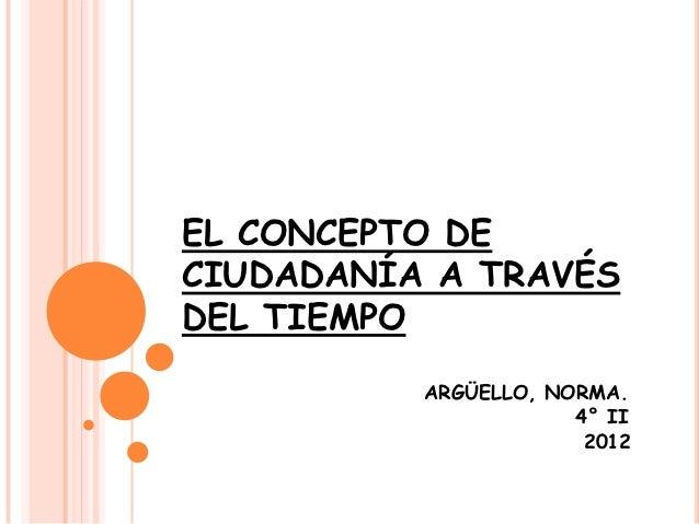 EL CONCEPTO DECIUDADANÍA A TRAVÉSDEL TIEMPO          ARGÜELLO, NORMA.                      4° II                       2012