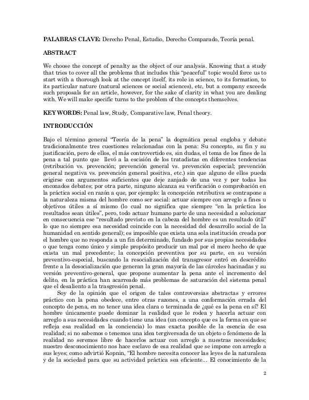 El concepto de pena, ¿Un aspecto incontrovertido en su teoría?/The concept of penalty, do something uncontroversial in it's theory? Slide 2