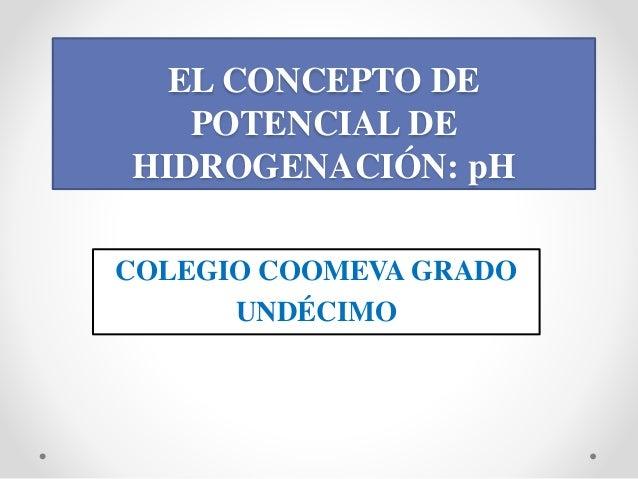 EL CONCEPTO DE POTENCIAL DE HIDROGENACIÓN: pH COLEGIO COOMEVA GRADO UNDÉCIMO