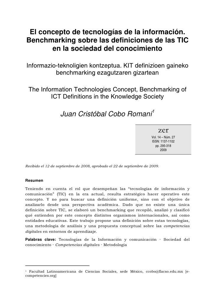 El concepto de tecnologías de la información. Benchmarking sobre las definiciones de las TIC        en la sociedad del con...