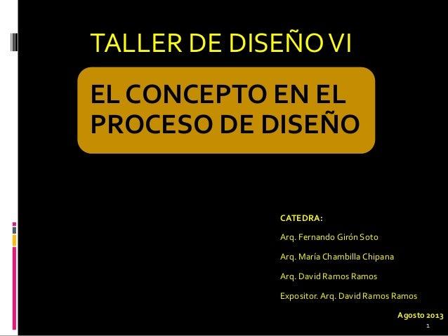 TALLER DE DISEÑOVI EL CONCEPTO EN EL PROCESO DE DISEÑO CATEDRA: Arq. Fernando Girón Soto Arq. María Chambilla Chipana Arq....