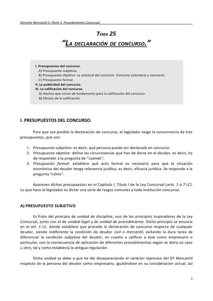 Derecho Mercantil II. Parte II. Procedimiento Concursal.___________________________________________________               ...