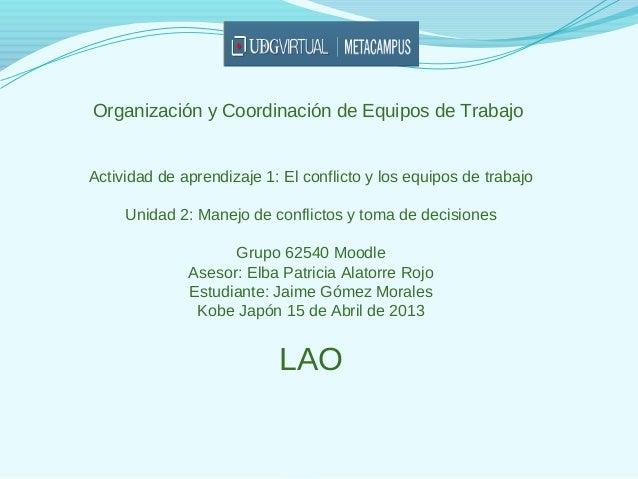 Organización y Coordinación de Equipos de TrabajoActividad de aprendizaje 1: El conflicto y los equipos de trabajo     Uni...