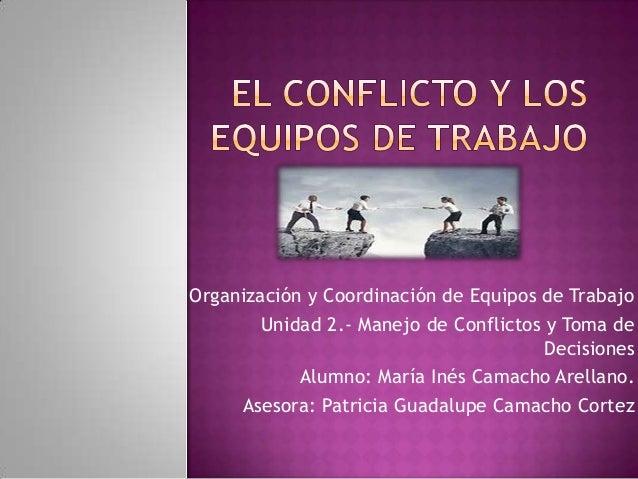 Organización y Coordinación de Equipos de Trabajo Unidad 2.- Manejo de Conflictos y Toma de Decisiones Alumno: María Inés ...