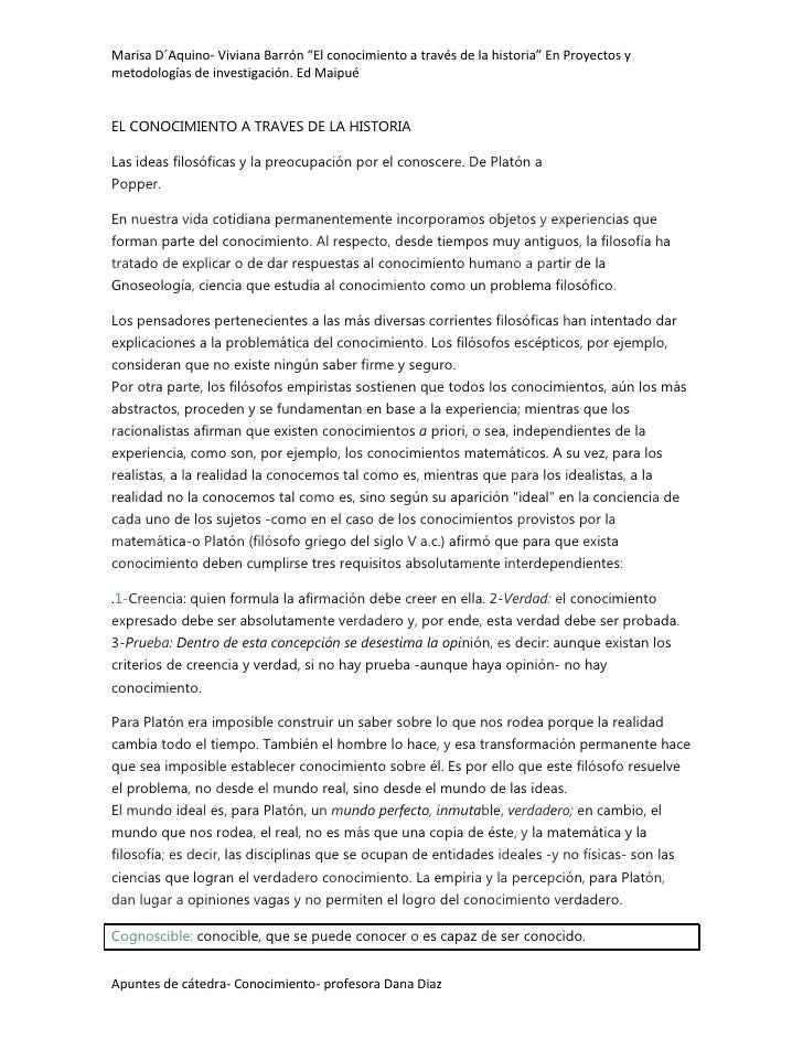 """Marisa D´Aquino- Viviana Barrón """"El conocimiento a través de la historia"""" En Proyectos ymetodologías de investigación. Ed ..."""