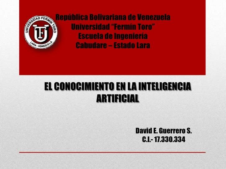"""República Bolivariana de Venezuela      Universidad """"Fermín Toro""""        Escuela de Ingeniería       Cabudare – Estado Lar..."""