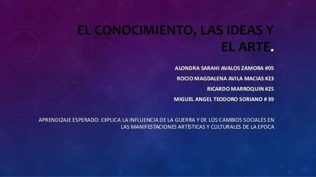 EL CONOCIMIENTO, LAS IDEAS Y EL ARTE. ALONDRA SARAHI AVALOS ZAMORA #05 ROCIO MAGDALENA AVILA MACIAS #23 RICARDO MARROQUIN ...
