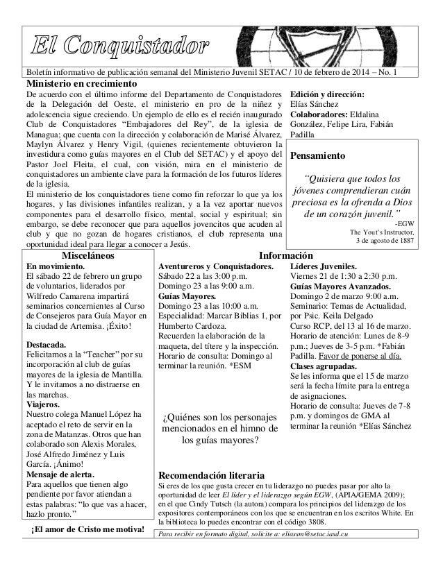 Boletín informativo de publicación semanal del Ministerio Juvenil SETAC / 10 de febrero de 2014 – No. 1  Ministerio en cre...
