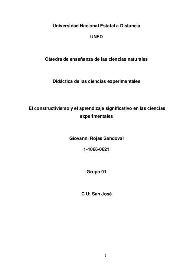 1 Universidad Nacional Estatal a Distancia UNED Cátedra de enseñanza de las ciencias naturales Didáctica de las ciencias e...