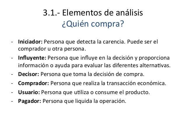 3.1.-‐  Elementos  de  análisis   ¿Quién  compra?   -‐ Iniciador:  Persona  que  detecta  la  car...
