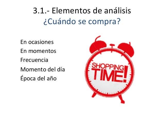 3.1.-‐  Elementos  de  análisis   ¿Cuándo  se  compra?   En  ocasiones   En  momentos   Frecuencia...