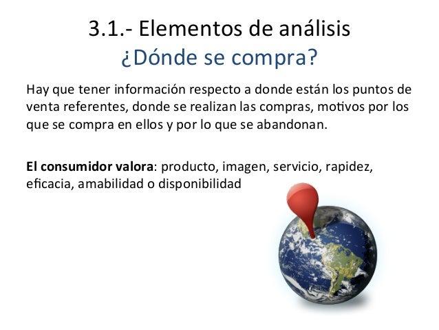 3.1.-‐  Elementos  de  análisis   ¿Dónde  se  compra?   Hay  que  tener  información  respecto  a...