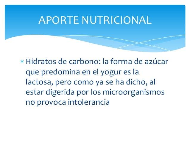 APORTE NUTRICIONALHidratos de carbono: la forma de azúcarque predomina en el yogur es lalactosa, pero como ya se ha dicho,...