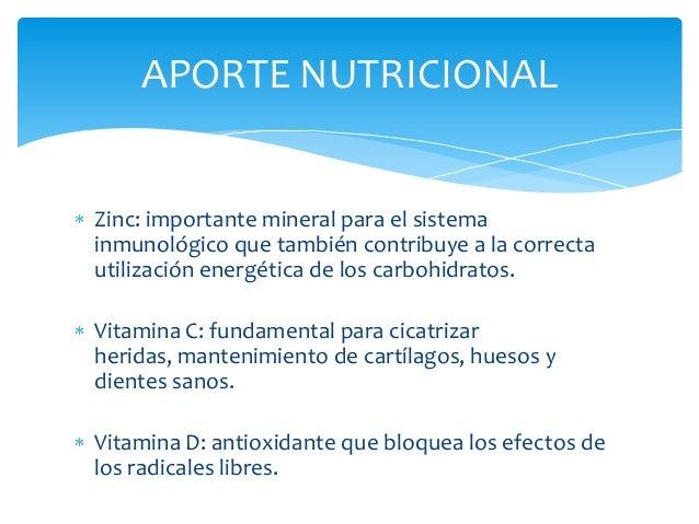 APORTE NUTRICIONALZinc: importante mineral para el sistemainmunológico que también contribuye a la correctautilización ene...