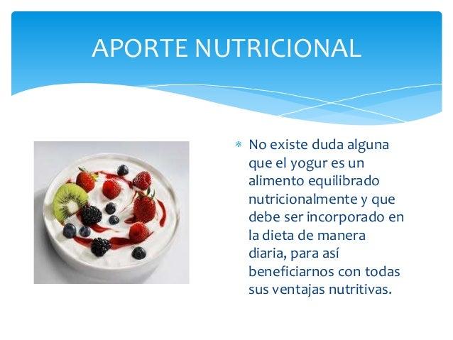 APORTE NUTRICIONAL          No existe duda alguna          que el yogur es un          alimento equilibrado          nutri...
