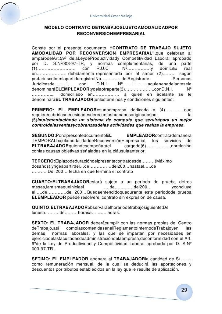 El contrato for Formato de contrato de trabajo indefinido