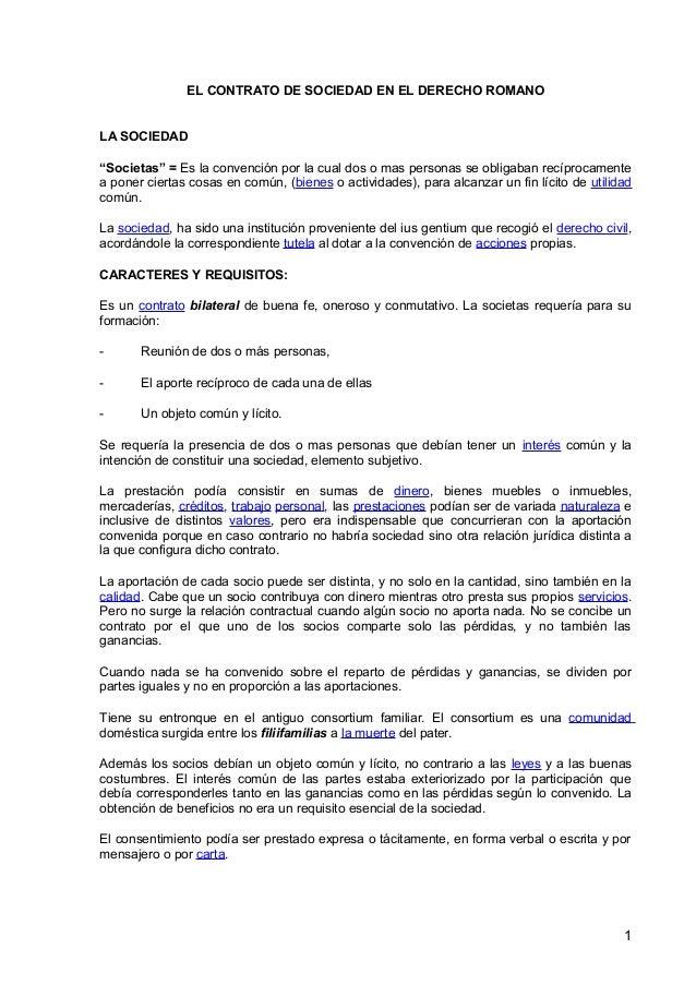 El contrato de sociedad en el derecho romano for Contrato documento