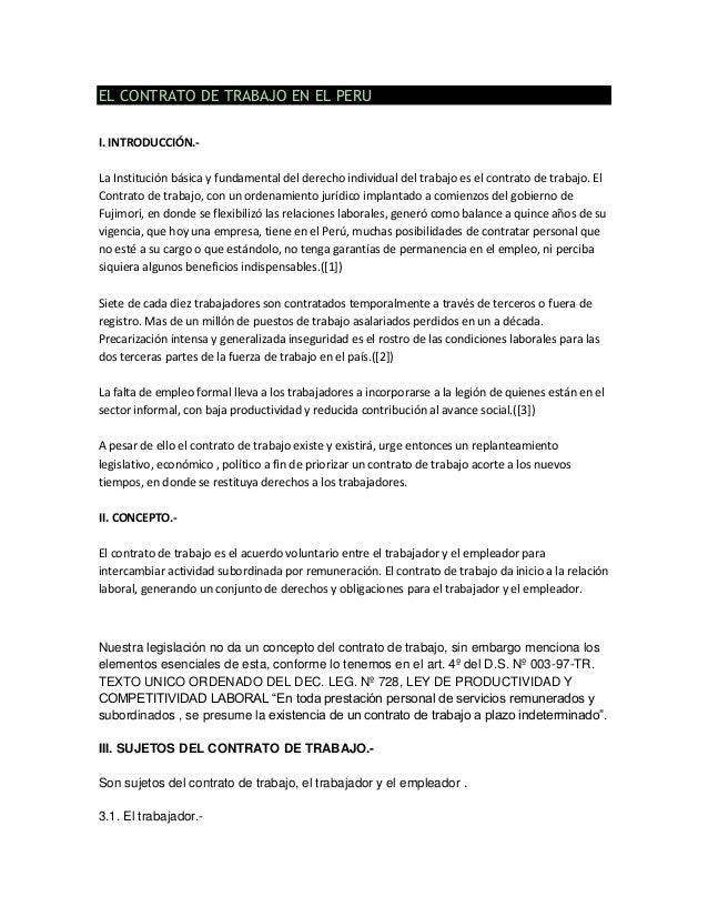 El contrato de trabajo en el peru Contrato trabajo