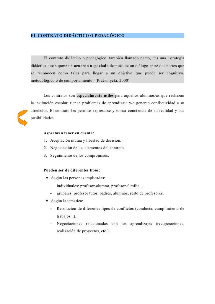 """EL CONTRATO DIDÁCTICO O PEDAGÓGICO            El contrato didáctico o pedagógico, también llamado pacto, """"es una estrategi..."""