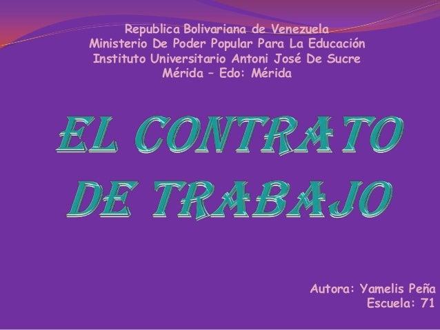 Republica Bolivariana de Venezuela Ministerio De Poder Popular Para La Educación Instituto Universitario Antoni José De Su...