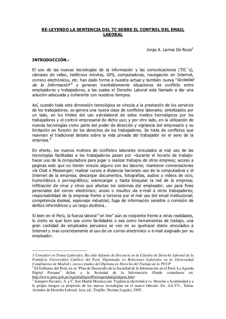 RE-LEYENDO LA SENTENCIA DEL TC SOBRE EL CONTROL DEL EMAIL                             LABORAL                             ...