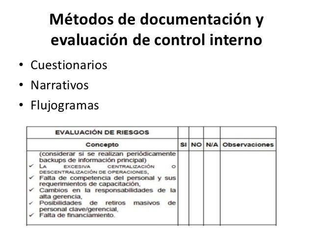 Métodos de documentación y     evaluación de control interno• Cuestionarios• Narrativos• Flujogramas