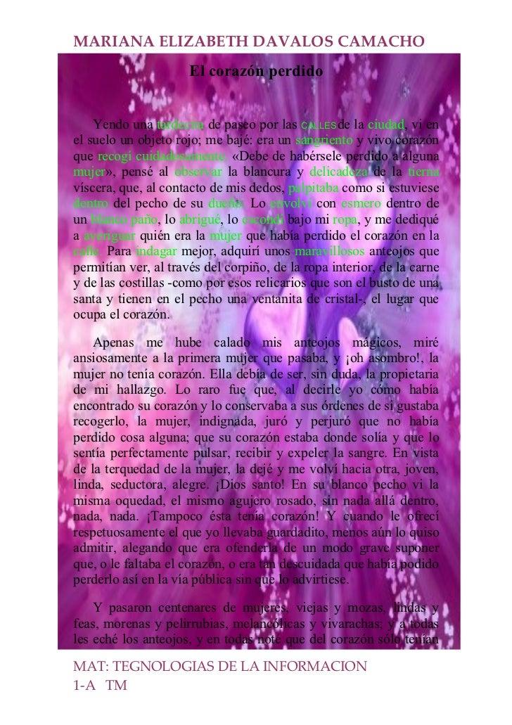 MARIANA ELIZABETH DAVALOS CAMACHO                       El corazón perdido       Yendo una tardecita de paseo por las CALL...
