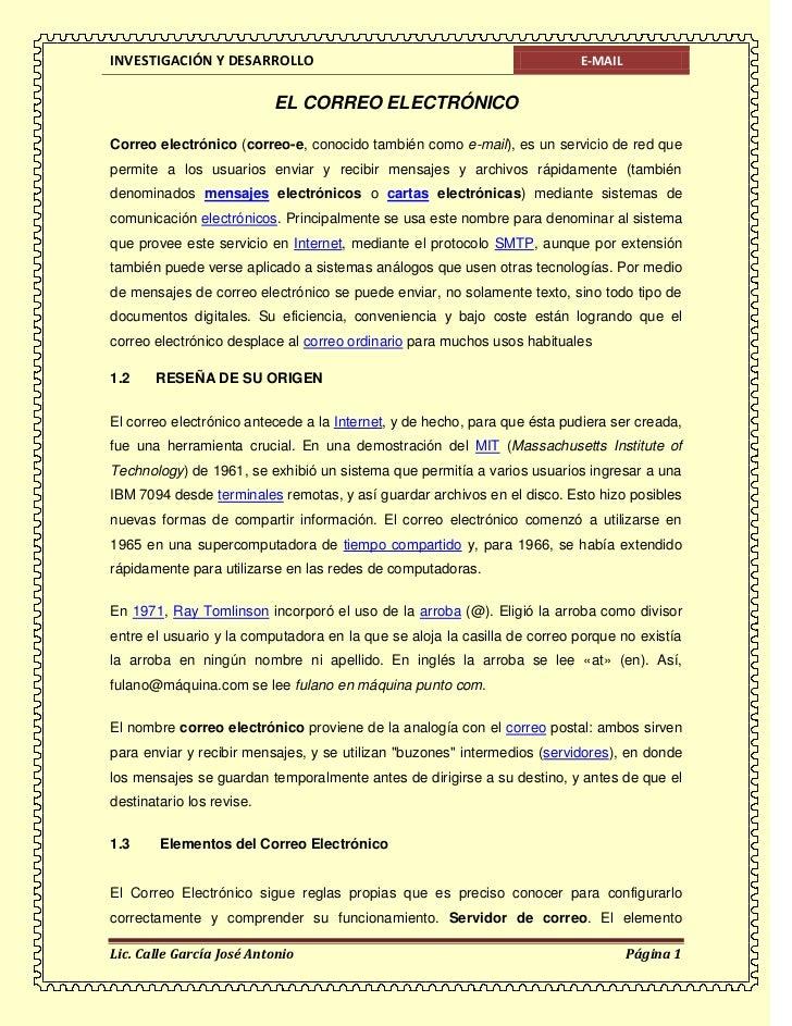 INVESTIGACIÓN Y DESARROLLO                                                E-MAIL                           EL CORREO ELECT...